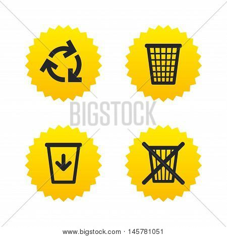 Recycle bin icons. Reuse or reduce symbols. Trash can and recycling signs. Yellow stars labels with flat icons. Vector