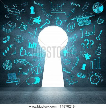 Concrete wall with blue business sketched and abstract keyhole opening with bright light. Success and accessibility concept