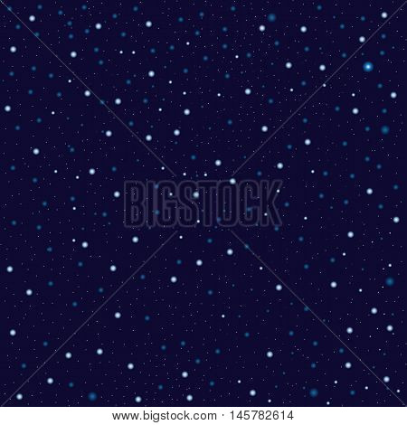 Star sky on dark background seamless pattern, vector illustration. Starry night, outer space seamless background. Realistic cosmos background