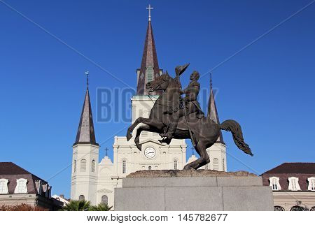 Historic Jackson Square in the French Quarter in New Orleans, Louisiana