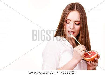 Woman Holds Grapefruit Drinking Juice From Fruit