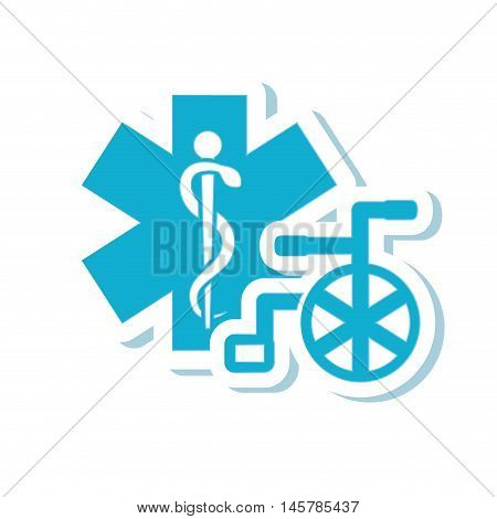 caduceus wheelchair medical health care icon. Flat and Isolated design. Vector illustration