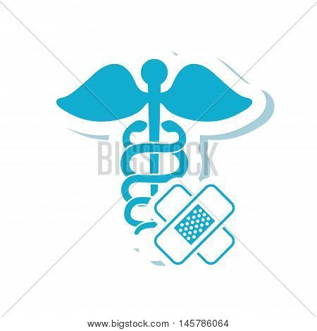 caduceus bandage medical health care icon. Flat and Isolated design. Vector illustration