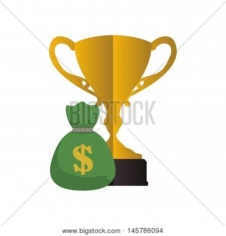trophy money bag cup gold winner competition success icon. Flat and Isolated design. Vector illustration