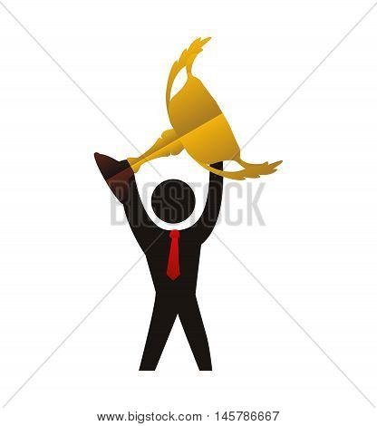 trophy pictogram necktie cup gold winner competition success icon. Flat and Isolated design. Vector illustration