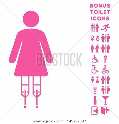 Woman Crutches icon and bonus gentleman and woman restroom symbols. Vector illustration style is flat iconic symbols, pink color, white background.