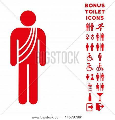 Buddhist Monk icon and bonus male and woman toilet symbols. Vector illustration style is flat iconic symbols, red color, white background.
