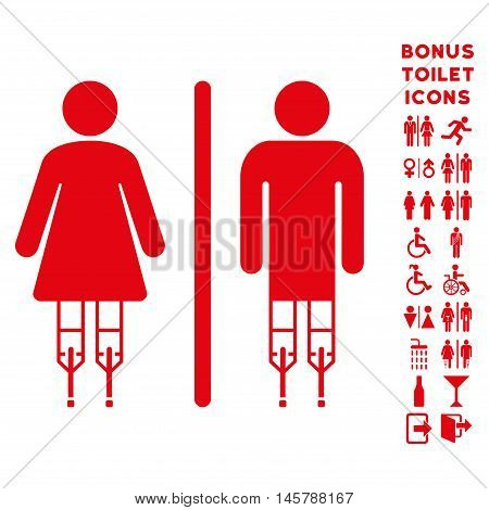 Disabled WC Persons icon and bonus man and woman restroom symbols. Vector illustration style is flat iconic symbols, red color, white background.