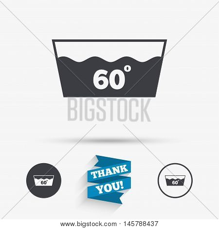 Wash icon. Machine washable at 60 degrees symbol. Flat icons. Buttons with icons. Thank you ribbon. Vector