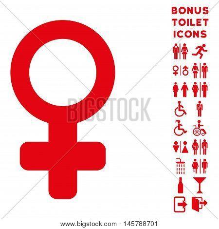 Female Symbol icon and bonus gentleman and woman lavatory symbols. Vector illustration style is flat iconic symbols, red color, white background.