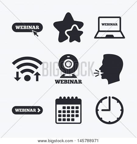 Webinar icons. Web camera and notebook pc signs. Website e-learning or online study symbols. Wifi internet, favorite stars, calendar and clock. Talking head. Vector