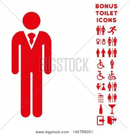 Gentleman icon and bonus gentleman and female restroom symbols. Vector illustration style is flat iconic symbols, red color, white background.