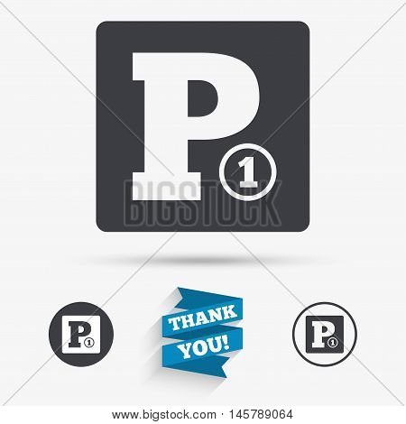Paid parking sign icon. Car parking symbol. Flat icons. Buttons with icons. Thank you ribbon. Vector