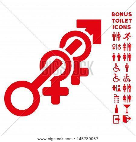 Harem icon and bonus man and lady lavatory symbols. Vector illustration style is flat iconic symbols, red color, white background.