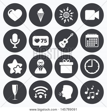 Calendar, wifi and clock symbols. Like counter, stars symbols. Party celebration, birthday icons. Carnival, guitar and champagne glass signs. Gift box, ice cream and love symbols. Talking head, go to web symbols. Vector