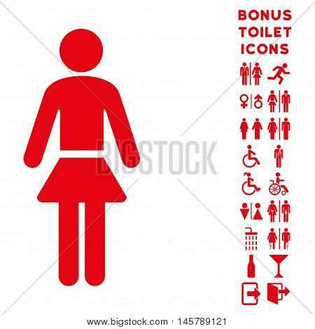 Lady icon and bonus gentleman and lady restroom symbols. Vector illustration style is flat iconic symbols, red color, white background.