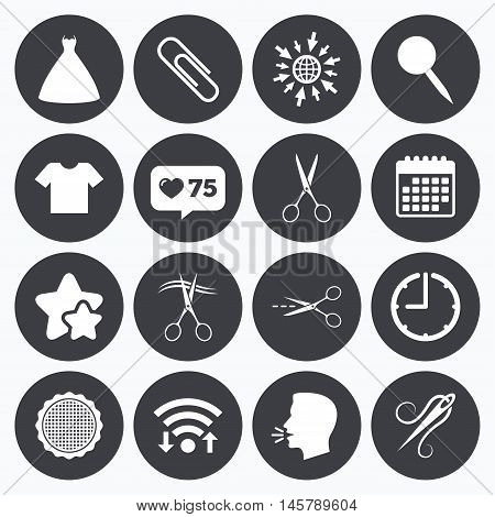Calendar, wifi and clock symbols. Like counter, stars symbols. Tailor, sewing and embroidery icons. Scissors, safety pin and needle signs. Shirt and dress symbols. Talking head, go to web symbols. Vector