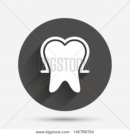 Tooth enamel protection sign icon. Dental toothpaste care symbol. Healthy teeth. Circle flat button with shadow. Vector