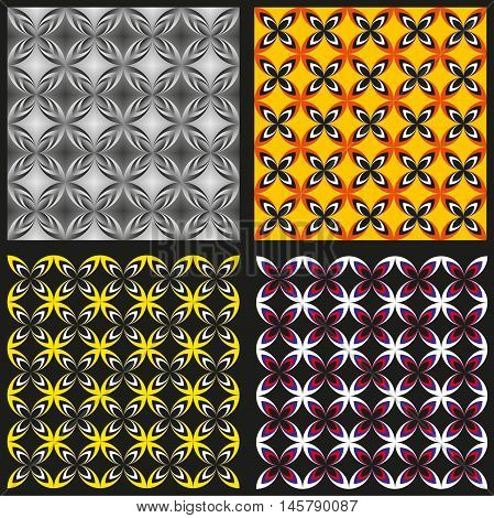 Set Of Four Colored Patterns