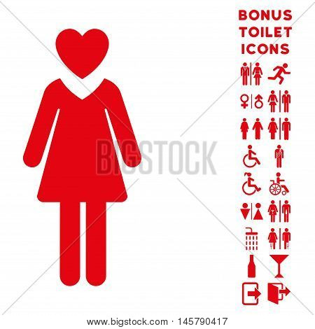 Mistress icon and bonus man and female toilet symbols. Vector illustration style is flat iconic symbols, red color, white background.