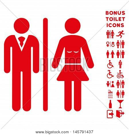 Toilet Persons icon and bonus male and female WC symbols. Vector illustration style is flat iconic symbols, red color, white background.