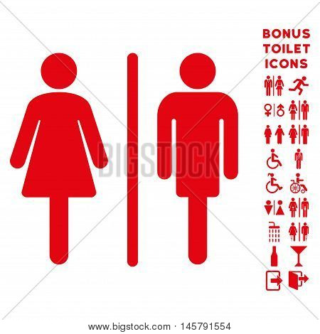 WC Persons icon and bonus male and lady toilet symbols. Vector illustration style is flat iconic symbols, red color, white background.