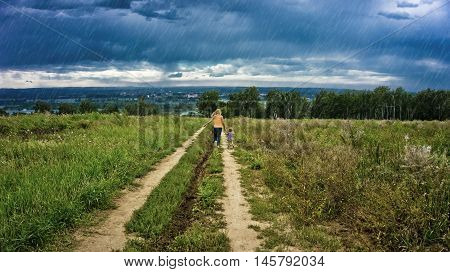 children fleeing from the rain on the road, storm, grass, woods, clouds, running,