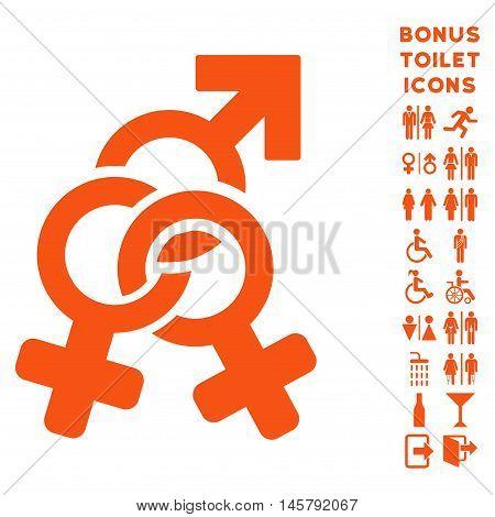 Double Mistress icon and bonus man and lady restroom symbols. Vector illustration style is flat iconic symbols, orange color, white background.