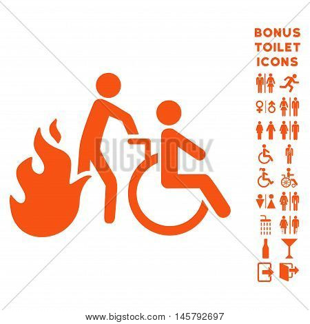 Fire Patient Evacuation icon and bonus male and female lavatory symbols. Vector illustration style is flat iconic symbols, orange color, white background.