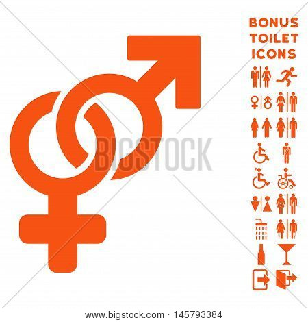 Heterosexual Symbol icon and bonus male and woman WC symbols. Vector illustration style is flat iconic symbols, orange color, white background.