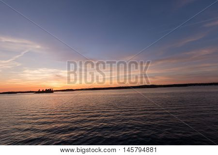 Sunset over the St. Lawrence Seaway in early September