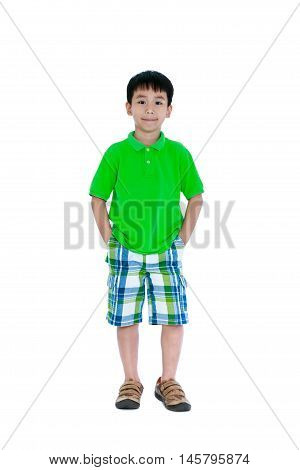 Full Body Of Happy Asian Child Smiling And Looking At Camera. Isolated On White Background.