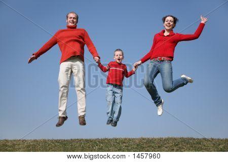 Familia de primavera de salto