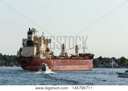 September 4, 2016 - St. Lawrence Seaway, New York - U.S.A - A large freight liner on the seaway