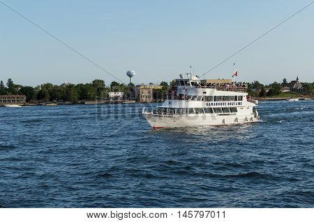 September 4, 2016 - St. Lawrence Seaway, New York - U.S.A - Tour boats on the St. Lawrence Seaway