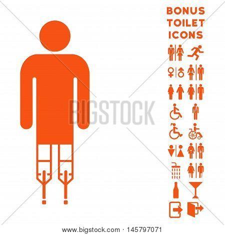 Man Crutches icon and bonus man and female restroom symbols. Vector illustration style is flat iconic symbols, orange color, white background.