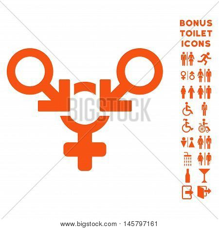Polyandry icon and bonus male and woman toilet symbols. Vector illustration style is flat iconic symbols, orange color, white background.