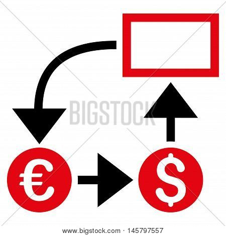 Cashflow icon. Vector style is bicolor flat iconic symbol, intensive red and black colors, white background.