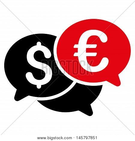 Currency Bids icon. Vector style is bicolor flat iconic symbol, intensive red and black colors, white background.