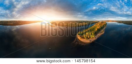 Aerial panorama of the river of Kama at sunset, Russia