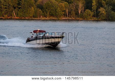 September 4, 2016 - St. Lawrence Seaway, New York State - U.S.A - Pleasure boats on the St. Lawrence Seaway