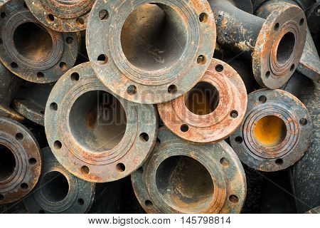 Storage of sewage pipe fittings Cast iron pipe fittings.
