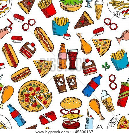 Fast food seamless background. Wallpaper with vector pattern of snacks and drinks icons hamburger, cheeseburger, coke, fries, hot dog, pizza, ice cream, coffee, chicken leg, ketchup, mustard, cake for kitchen or restaurant decoration