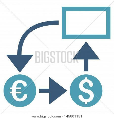 Cashflow icon. Vector style is bicolor flat iconic symbol, cyan and blue colors, white background.
