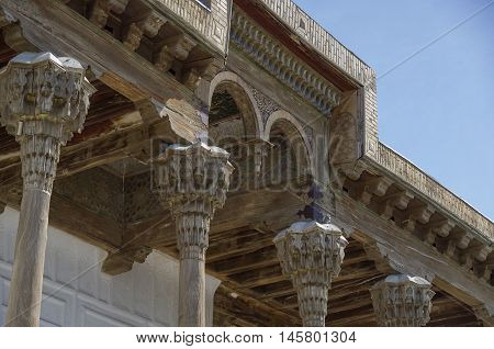 Ornament And Carving Details Of Wooden Part Of Mosque In The Ark, Bukhara Fortress Uzbekistan. Centr