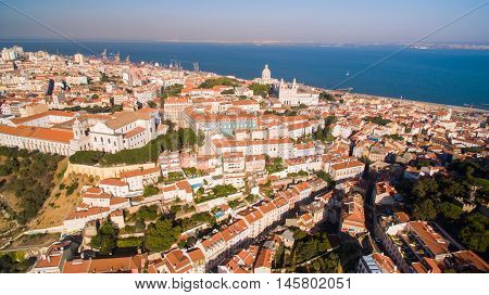 Castle of Saint George, Tagus river and Miradouro da Graca Lisbon