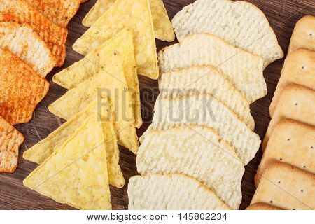 Crunchy Cookies And Salted Crisps, Concept Of Unhealthy Food