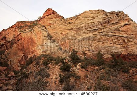 Orange White Checkerboard Mesa Stratified Rocks Zion Canyon National Park Utah