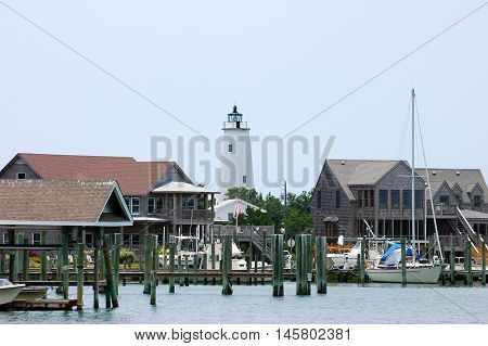 harbor and lighthouse in outer bank in NC
