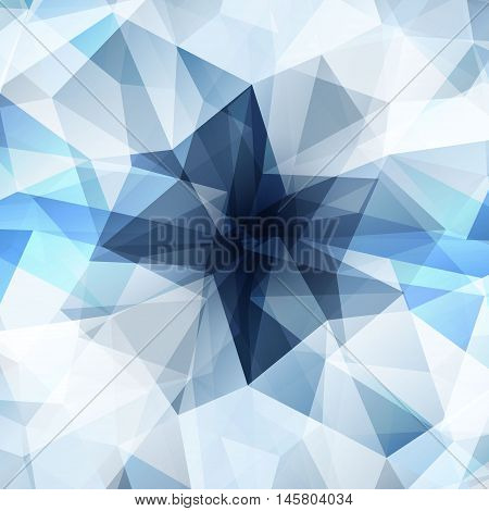Colorful diamond texture close-up. Geometric polygonal pattern. Vector illustration. Abstract blue-gray-white background.